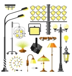 Lamps styles electric equipment vector