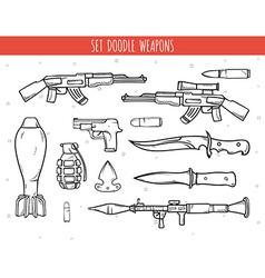 Big doodle set of weapon shells handwork bombs vector