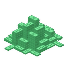 Big stacked dollar pile vector