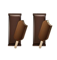 bitten ice cream in chocolate glaze on stick vector image
