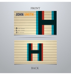 Business card template letter h vector