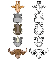 Cartoon zoo animals set vector