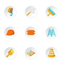 Construction icons set cartoon style vector