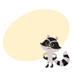cute displeased sad raccoon character showing vector image vector image