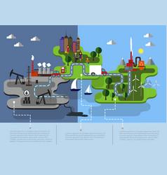 eco islands of green energy vector image