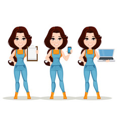 farmer girl dressed in work jumpsuit set cute vector image vector image