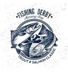 Fishing Logo Salmon Fish icon vector image vector image