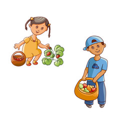flat children in garden scenes set isolated vector image