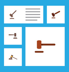 Flat icon court set of defense legal court and vector