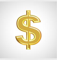 golden dollar sign symbol vector image