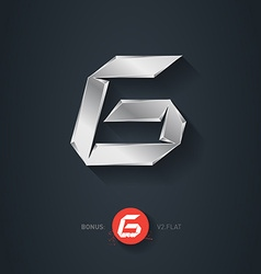 Letter G silver font Elegant Template for company vector image vector image