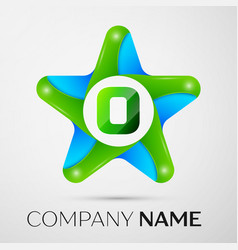 letter o logo symbol in the colorful star on grey vector image
