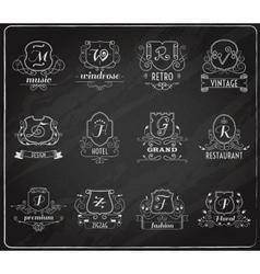 Monogram shields chalkboard set vector image vector image