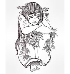 Nature fairy woman boho vector