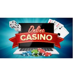 online casino poster modern laptop concept vector image vector image