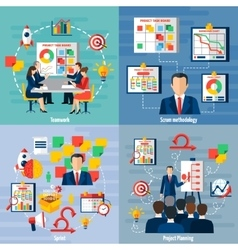 Scrum Agile 4 Flat Icons Square vector image