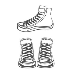 Sneakers silhouette set vector