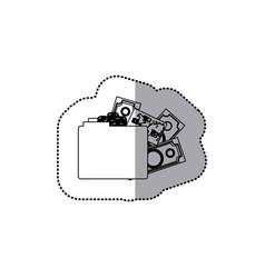 Sticker monochrome contour of folder with money vector
