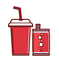 Sweet soda in can and paper cup with straw vector