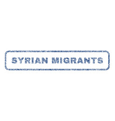 syrian migrants textile stamp vector image vector image