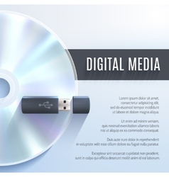 Usb Flash Drive With Cd vector image vector image