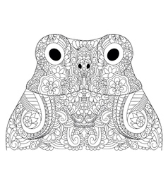 Head froggy coloring for adults vector