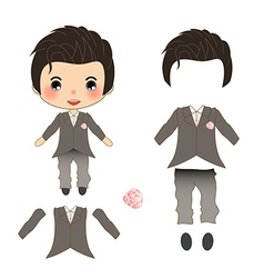 Groom wedding suit costume vector