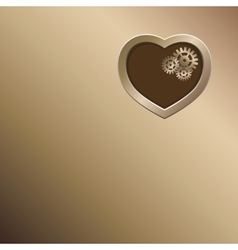 Bronze background with gold heart and gears vector