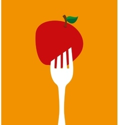 fork with apple icon vector image