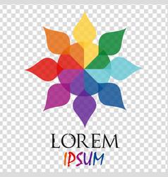 Abstract rainbow flower geometric logo template vector