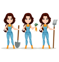 farmer girl dressed in work jumpsuit set cute vector image