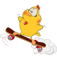 Yellow chicken and skate board cartoon vector