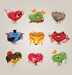 valentines hearts icons set vector image
