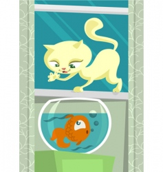Cartoon cat hunting fish vector