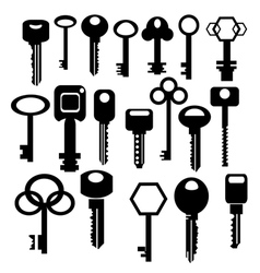 Silhouettes of keys vector
