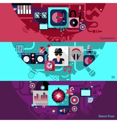 Dj horizontal banner set vector