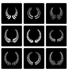 Black laurel wreaths icon set vector