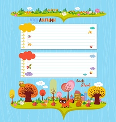 Hello autumn design elements for notebook note vector