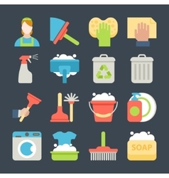 Cleaning icon set isolated with windows dishes vector