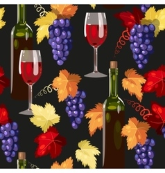 Seamless wine and grape vector