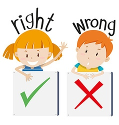 Boy with wrong sign and girl with right sign vector