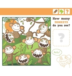 Jungle education counting game for children vector