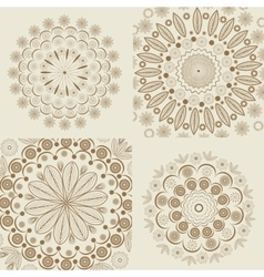 Set circular round ornaments vintage style vector