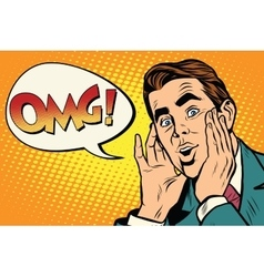 OMG Surprised emotional pop art retro business man vector image