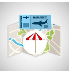 Airline ticket map travel umbrella beach vector