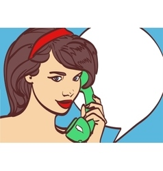 Art of beautiful woman with phone pin up vector