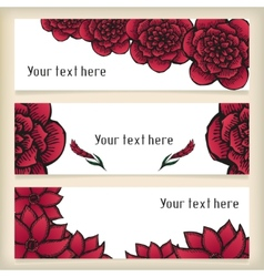 Banners with doodling flowers like roses in tattoo vector image