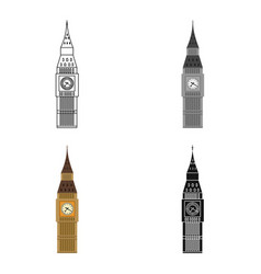 Big ben icon in cartoon style isolated on white vector