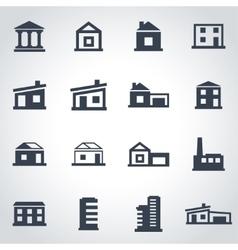 black buildings icon set vector image