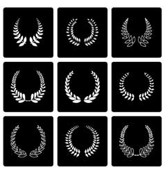 Black laurel wreaths icon set vector